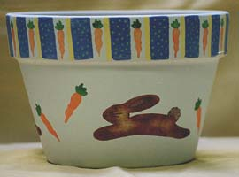 Bunny Hop Clay Pot