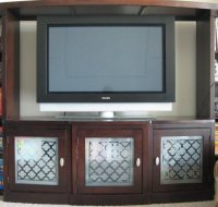 Big, Beige, Box Frosted Glass Entertainment Center