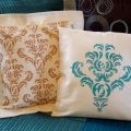 Stenciled Damask Pillows