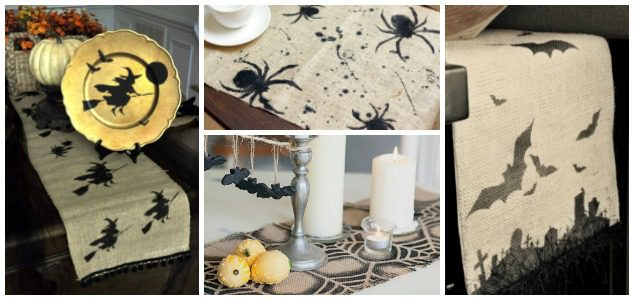 4 Stenciled Table Runners for Halloween