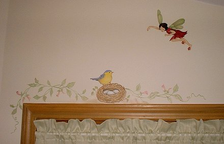 Fairy Bedroom: Fairy, bird, and nest stenciled over window