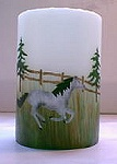 Candle stenciled with Horse