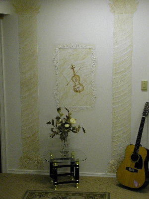 Plaster violin and columns