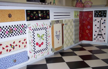 Stenciled Kitchen Cabinets