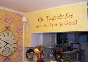 Stenciled Psalm in Kitchen Dining Area