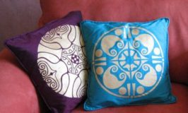 Stenciled Medallion Pillows by Lisa Klofkorn