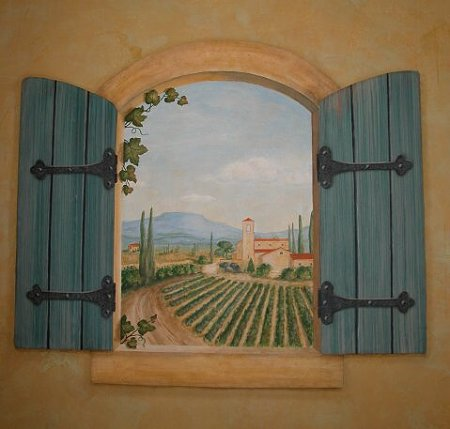 Stenciled Window with Mural View