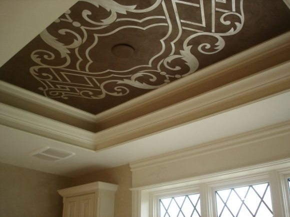 Silver Leaf Stenciled Ceiling