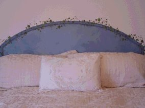 Blue Arched Headboard with small vine by Attrista Art Decor Studios