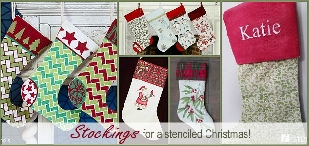 Stenciled Christmas: Stenciled Stockings