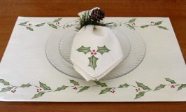 Stenciled Christmas: Holly Placemats