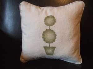 Hand-Stenciled Topiary Pillow