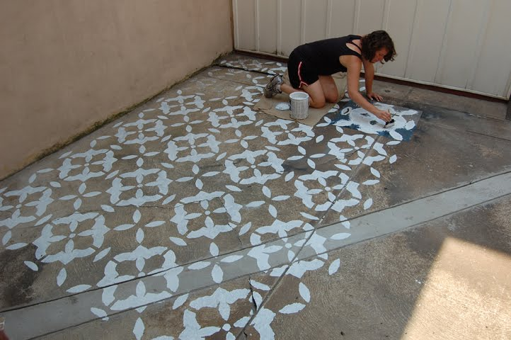 Stenciled patios stencil search for Clean concrete floor for painting