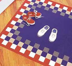Stenciled Sneaker Floorcloth by Sharon Sims