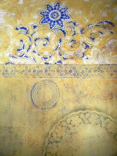 Stenciling with Doilies 5: Collage Wall