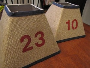 Stenciled Burlap Lamp Shades