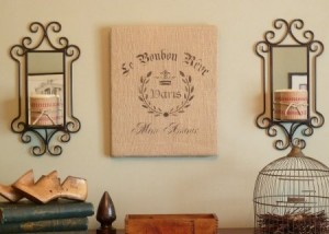 Stenciled Burlap Wall Art
