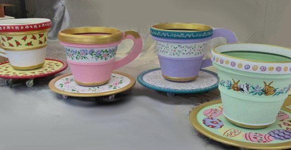 giant stenciled teacups