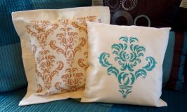 Another Damask Stenciled Pillow
