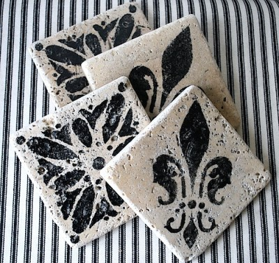 The Happy Housewife: Stenciled Marble Coasters
