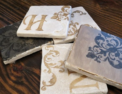 Let's Just Build a House: Stenciled coasters