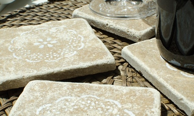 Personally Andrea: Stencilled Coasters in Tumbled Marble