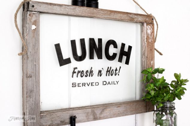 Stenciled Glass Lunch Window by Funky Junk Interiors