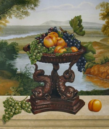 Jeff Raum Stencils: Dolphin Bowl with Grapes and Peaches Stencils