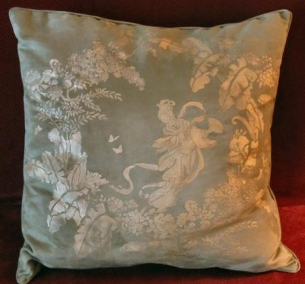 Jeff Raum Stencils: Oriental Toile stenciled pillow