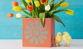 Stenciled Concrete Planters for Spring