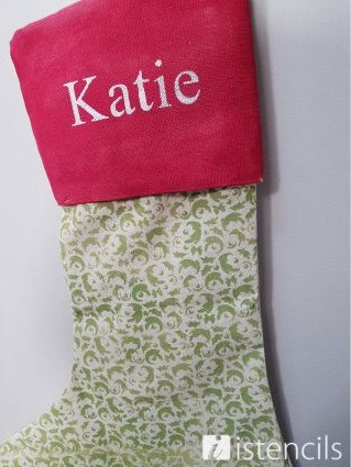 iStencils: Holly Stenciled Stocking